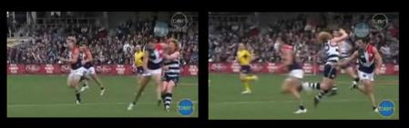Geelong's Cameron Ling, king-hit by Dean Solomon who copped 8 weeks