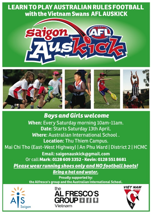 Saigon Auskick returns on 13 April 2013.