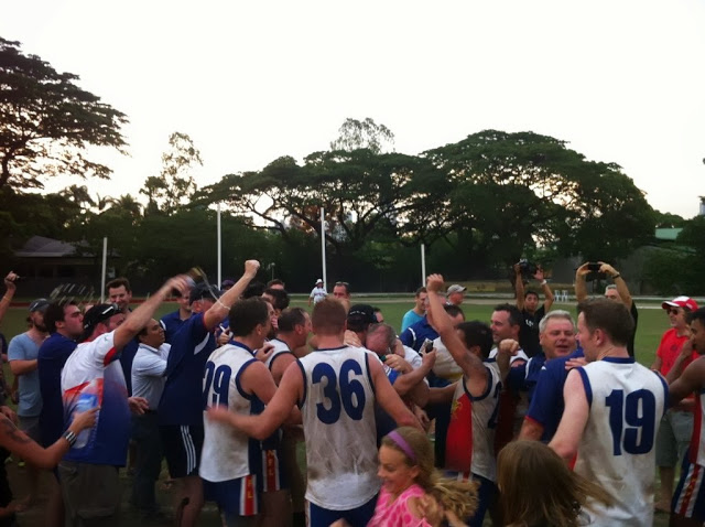 The Philippine Eagles celebrate after taking the Final against the Singapore Wombats.