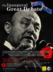 The Inaugural ANZAC Great Debate, Caravelle Hotel, 23 April 2014.