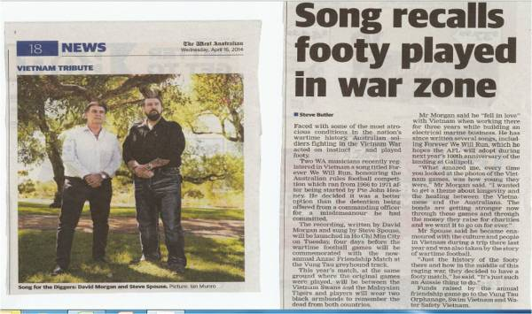 "Steve Butler writes in today's West Australian newspaper, ""Song recalls footy played in war zone""."