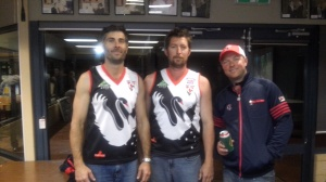 Looking sharp in Swannies Guernsey's - Simon Duckworth, Clayton Crabbe from the Kulin/Kondinin Blues along with club President Mick Lucchesi