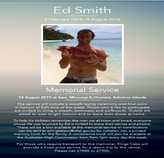 Ed Smith Memorial Service, 14 August, Solomon Islands.